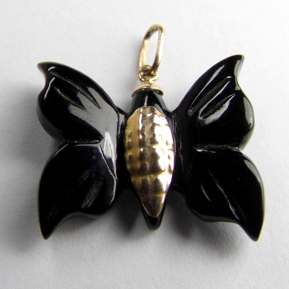 Genuine Black Coral 10KY Gold Butterfly Pendant